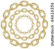 Gold circle chains isolated on white background. Vector illustration. - stock vector
