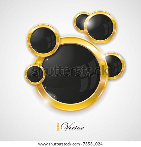 Gold circle frames, eps-10 - stock vector
