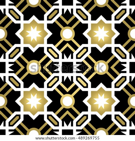gold classic ceramic mosaic tile seamless pattern with geometric shape decoration luxury style abstract background