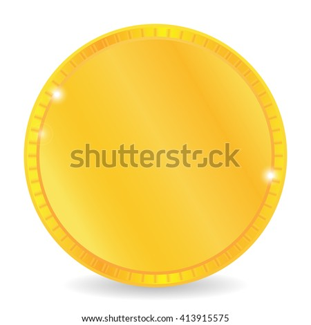 Gold coin. Gold coin isolated on a white background. Gold coin, vector illustration. - stock vector
