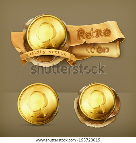 Gold coin icon - stock vector