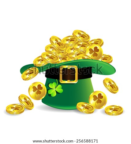 Gold Coin In Green St Patricks Day Hat With Shamrock On White Background