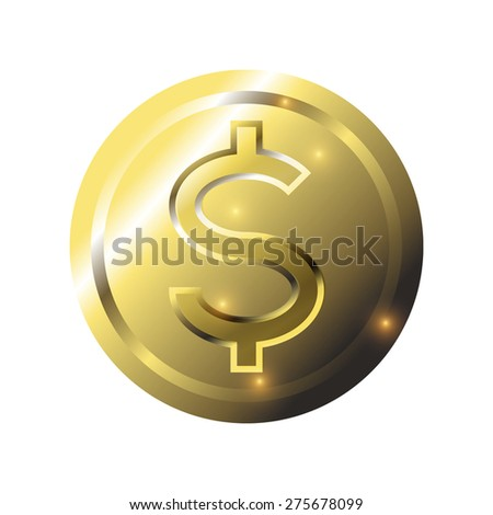 Gold Coin, Isolate, white background, Vector - stock vector