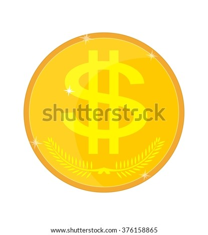 Gold coin isolated with a dollar sign, vector illustration - stock vector