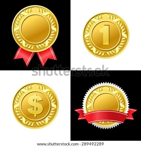 Gold Coin Medal Vector Icon - stock vector
