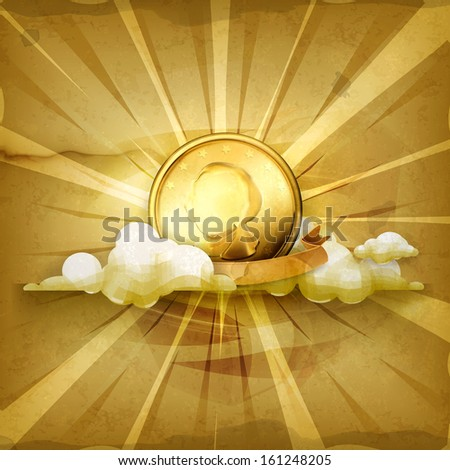 Gold coin, old style vector background - stock vector