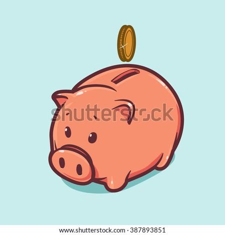gold coin on moneybox, vector piggy bank illustration, business concept - stock vector