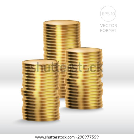 Gold coin stack isolated on white background - vector illustration