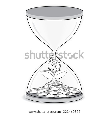 Gold coin tree inside Hourglass,outline drawing, business concept vector - stock vector