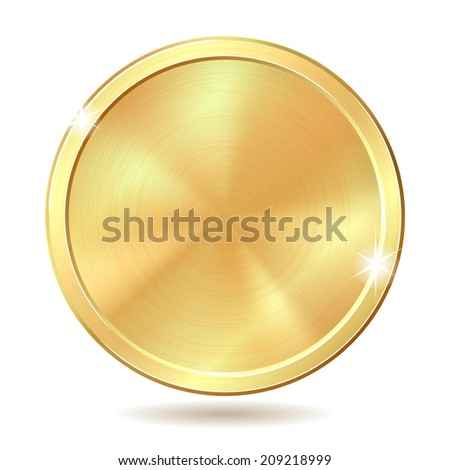 Gold coin. Vector illustration isolated on white background - stock vector