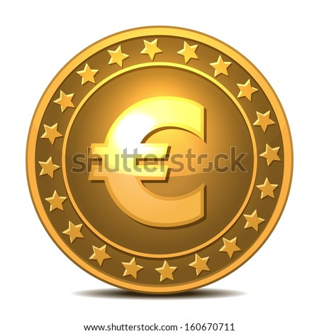 Gold coin with euro sign. Vector illustration isolated on white background - stock vector