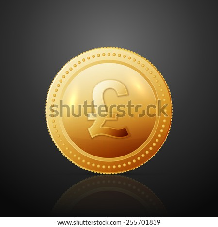 Gold coin with pound sterling sign. Vector illustration isolated on dark background - stock vector