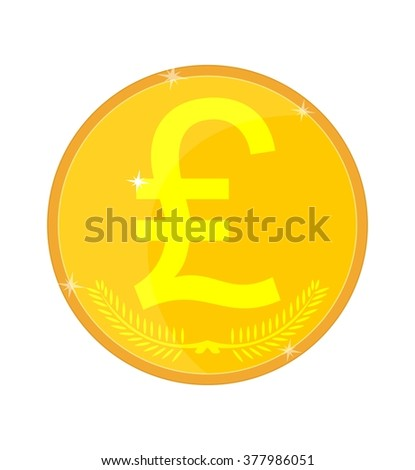 Gold coin with the image of the lira, pound, livery, vector illustration