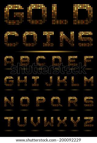 Gold coins alphabet. - stock vector