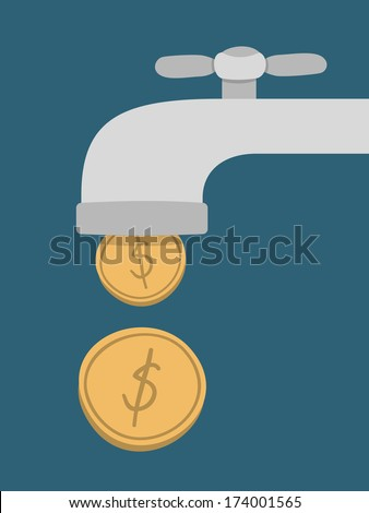 gold coins fall out of the golden tap, Passive Income Concept  - stock vector