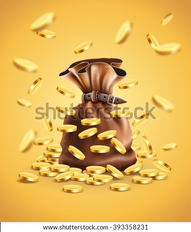 Gold coins falling down and full sack vector illustration. Gradient mesh used. Transparent objects used for lights shadows drawing - stock vector