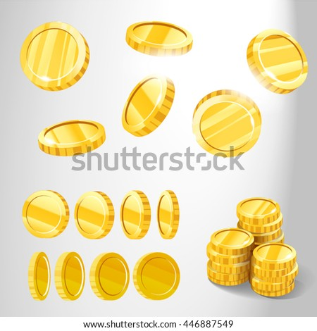 Gold coins from different angles for games and patterns, photo realistic vector illustration in 3D style, isolated on white background - stock vector