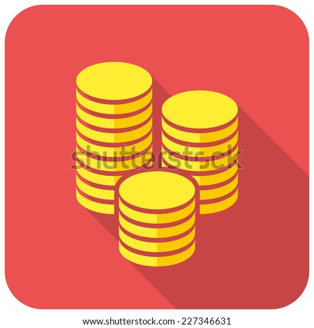 Gold coins icon (flat design with long shadows) - stock vector