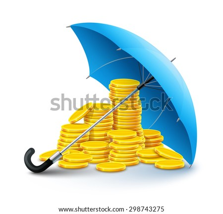 Gold coins money under umbrella protection. Eps10 vector illustration. Isolated on white background - stock vector