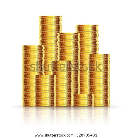 Gold Coins on a White background.Illustration Vector EPS10.