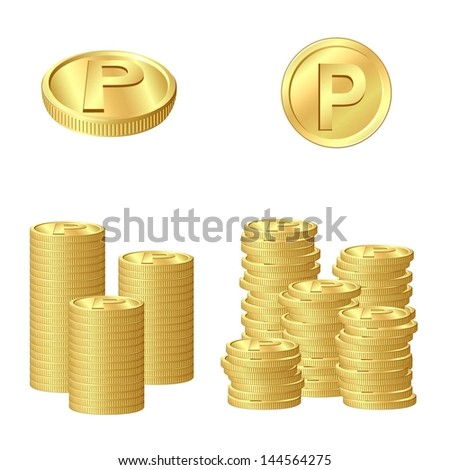 Gold coins point - stock vector