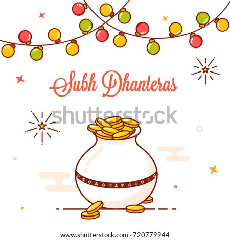 Gold coins pot colorful bunting lights stock vector 720779944 gold coins pot and colorful bunting lights decorated greeting card design for shubh happy m4hsunfo