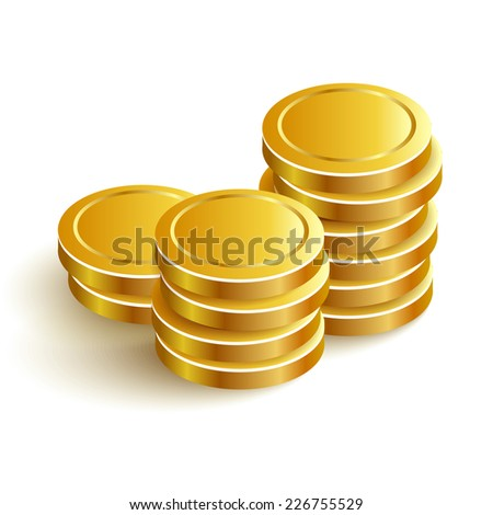 Gold Coins Vector Icon Eps Payment - stock vector