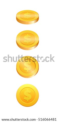 Gold coins vector illustration. Gold coin in four different shapes