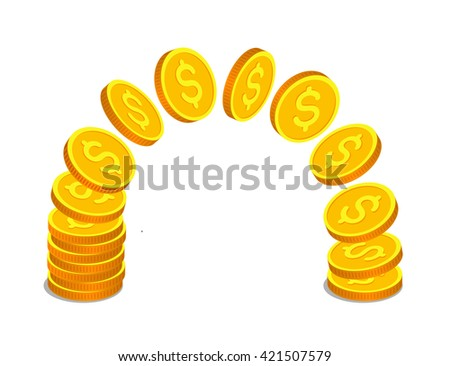 Gold coins with dollar signs are flying from one stack to another. Money operations and finance concept - stock vector