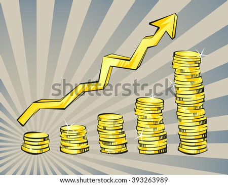 Gold,  coins with increasing arrow in retro cartoon style. Golden money vector illustration. Business success, bank credits, deposit, investment, saving, fortune concepts. Modern vintage design. - stock vector