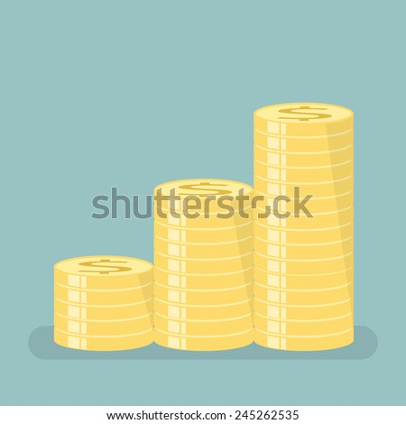Gold coins with stepped sort  - stock vector