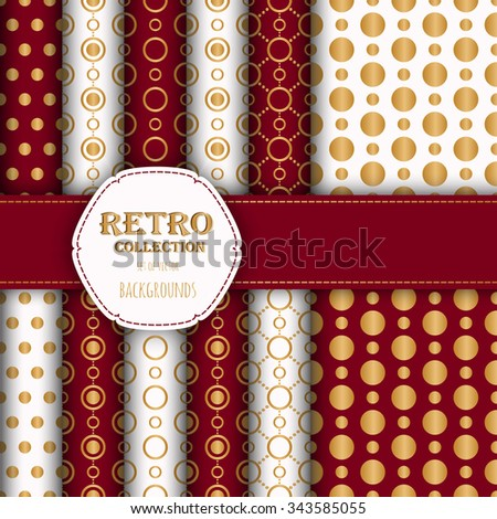 Gold collection of jumbo and small polka dots seamless patterns in red, and white. Vector art image illustration. Perfect for wallpapers, pattern fills, web backgrounds, birthday and wedding cards - stock vector