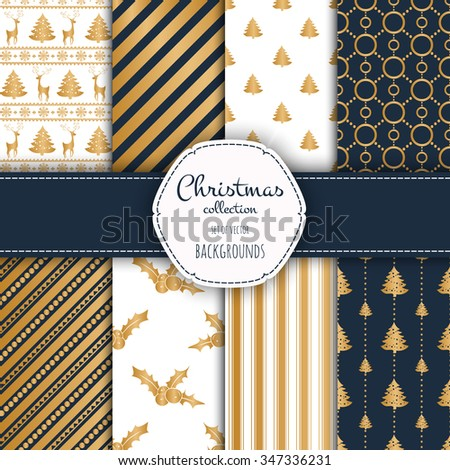 Gold collection of seamless patterns with blue and white colors.  Set of seamless backgrounds with traditional symbols - snowflakes, pine tree,deer and suitable abstract patterns.
