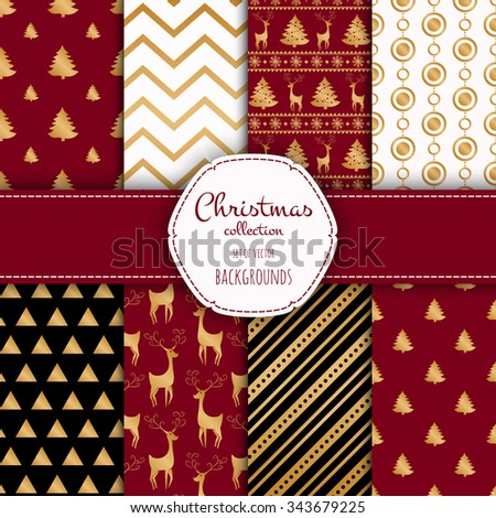 Gold collection of seamless patterns with red,black and white colors.  Set of seamless backgrounds with traditional symbols - snowflakes, pine tree,deer and suitable abstract patterns.  - stock vector