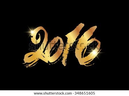 Gold color 2016 New Year hand lettering Chinese and modern calligraphy for Year of the Monkey 2016. gold spray, snow, typographic inscription isolated on black background - stock vector