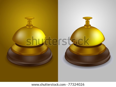 Gold colored call bell - vector illustration - stock vector