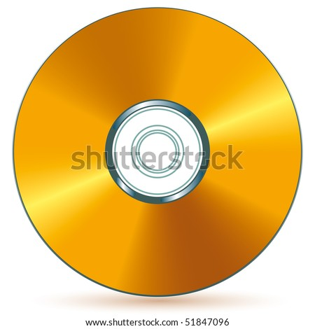 Gold compact disc - blend and gradient only - stock vector