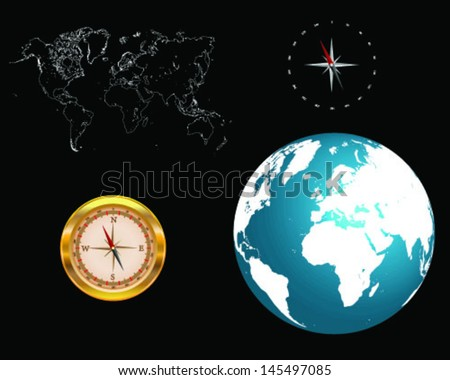 Gold compass isolated, world map and globe-vector - stock vector