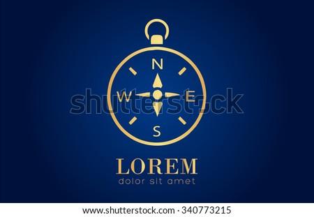 Gold Compass logo - stock vector