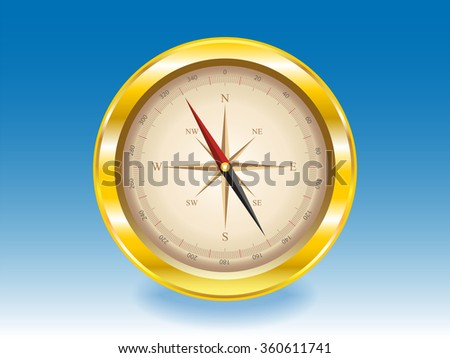 gold compass on a blue background. vector illustration - stock vector