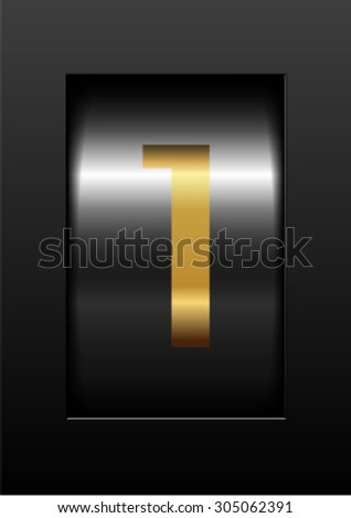 gold counter digit 1 - stock vector