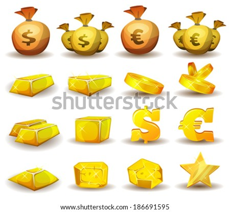 Gold Credit, Money, Coins Set/ Illustration of a set of glossy and bright cartoon gold and credits icons, ingot and symbols of currency, for game user interface - stock vector