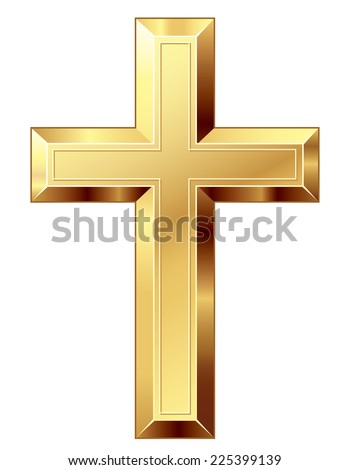 Gold cross. Eps8. CMYK. Organized by layers. Global colors. Gradients used - stock vector