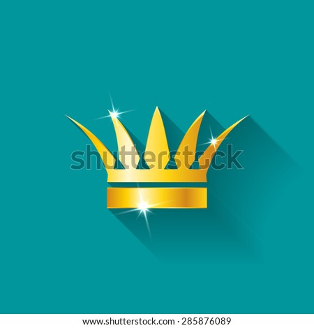 Gold crow flat style isolated on navy background - stock vector