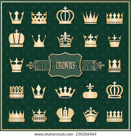 Gold crown icons set on damask. Luxury design elements. - stock vector