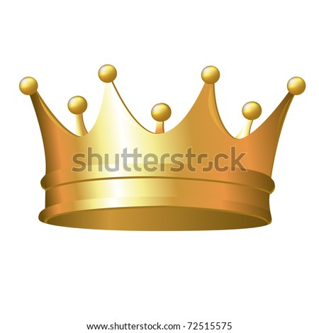 Gold Crown, Isolated On White Background, Vector Illustration - stock vector