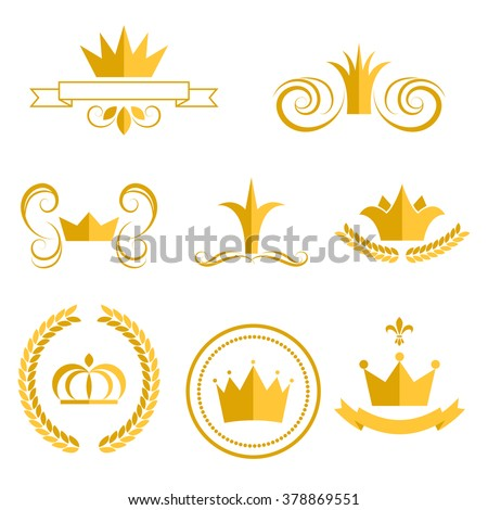 Gold crown logos and badges clip art vector set. King or queen crowns flat style icons. - stock vector