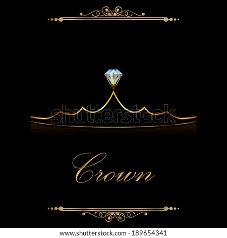 gold crown with diamond pattern - stock vector