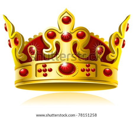 Gold crown with red gems, Isolated On White Background, Vector Illustration - stock vector