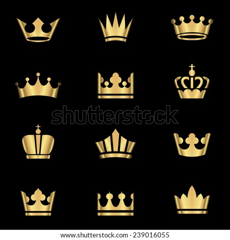 Gold Crowns Set - Set of gold crowns icons.  Colors in gradients are global, so they can be changed easily.  Each element is grouped individually for easy editing. - stock vector